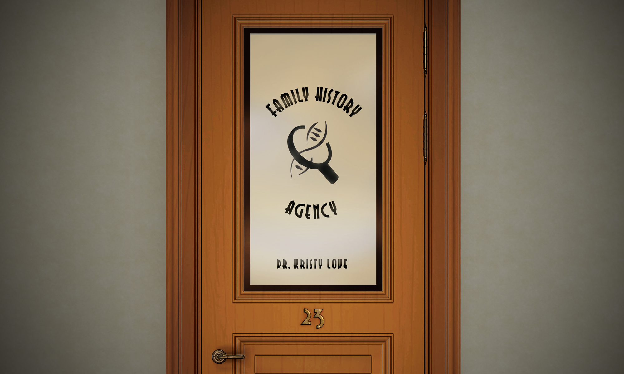 Image of a detective agency style door that reads: ' Family History Agency'. Dr Kristy Love. The number 23 is on the door.